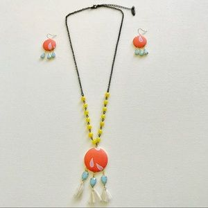 Plunder Posse Necklace Earring Set Blue Orange